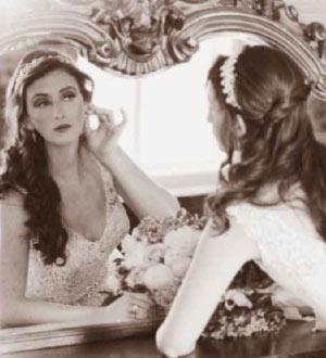 Bride in a mirror, black and white photo