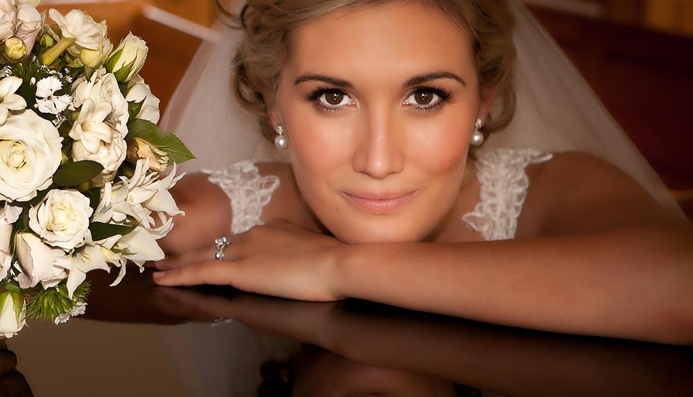 A beautiful bride in Charleston, SC smiling