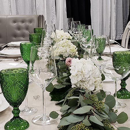 Table set at the wedding reception